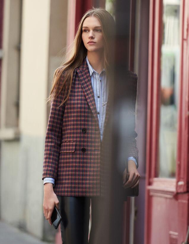 Zweireihiger Blazer mit Karomuster : Blousons & Jacken farbe Bunt
