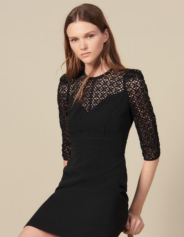 Kurzes Kleid  Mit Einsatz : Kleider farbe Schwarz