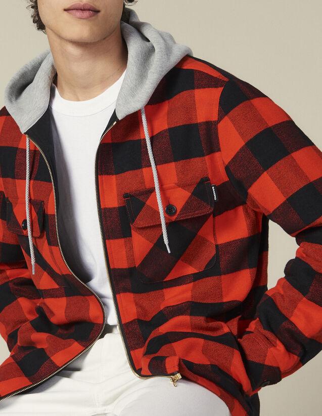 Jackenhemd mit Karomuster und Kapuze : Blousons & Jacken farbe Orange