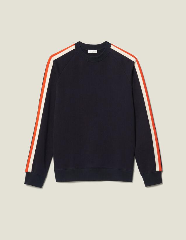 Sweatshirt Aus Baumwolle Mit Borten : Neue Kollektion farbe Marine