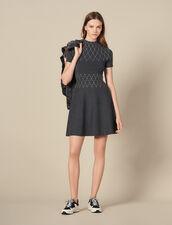 Strickkleid mit Nietenverzierung : Kleider farbe Grau Meliert