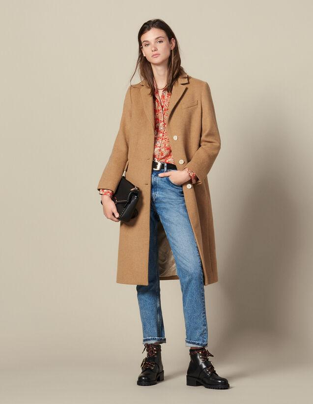 Langer Mantel aus Wolltuch : Mäntel farbe Beige