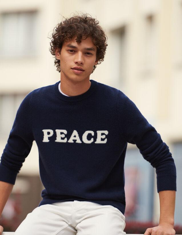 Message-Pullover Aus Wolle Und Kaschmir : Pullovers & Cardigans farbe Marine
