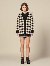 Weiter Cardi-coat mit Karomuster : Pullover & Cardigans farbe Beige