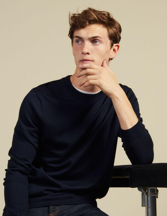 Wollpullover Mit Rundhalsausschnitt : Neue Kollektion farbe Marine
