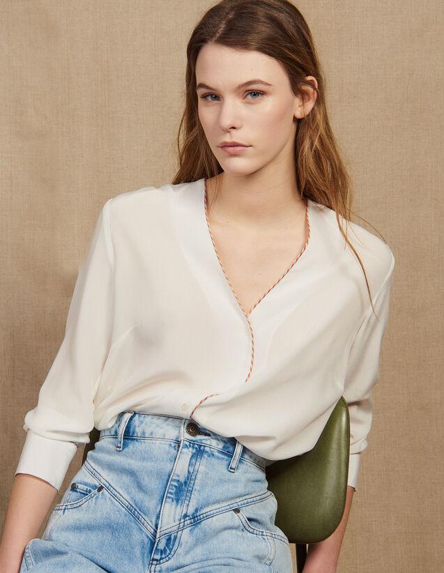 Hemdbluse Aus Seide Mit Ausschnitt : Tops & Hemden farbe Ecru