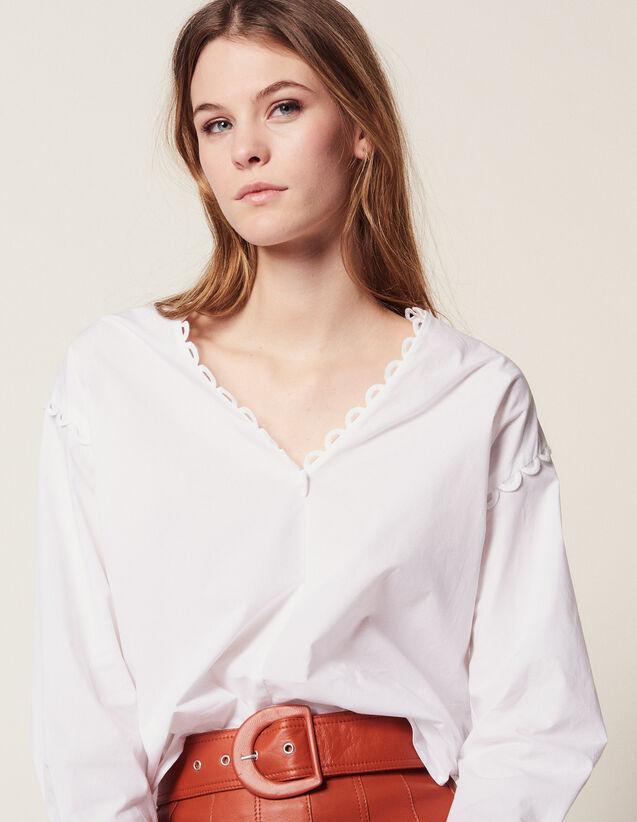 Baumwoll-Top Mit Langen Ärmeln : Tops & Hemden farbe Weiß