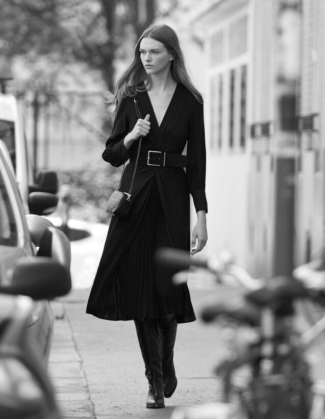 Langes Kleid mit Drapierung : FBlackFriday-FR-FSelection-50 farbe Schwarz