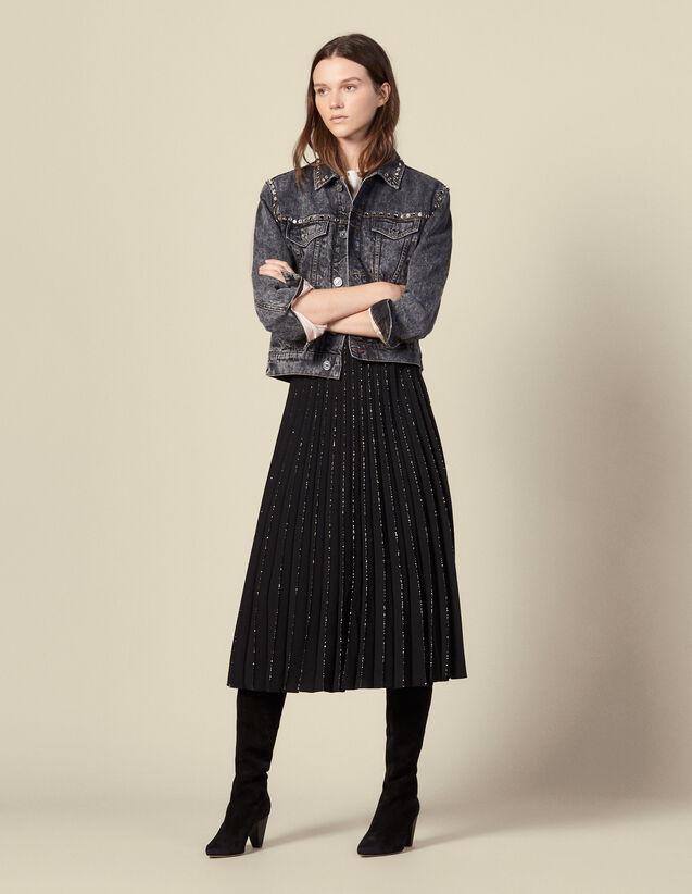 Plissee-Rock mit Paillettenverzierung : Röcke & Shorts farbe Schwarz