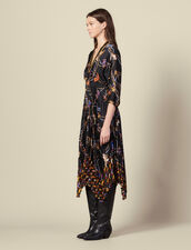 Langes Kleid mit Plissee-Rockteil : Kleider farbe Schwarz