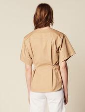 Kurzarm-Hemdbluse Aus Baumwolle : null farbe Beige