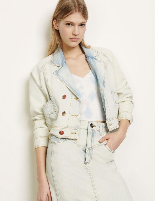 Verwaschene Jeansjacke : Sommerkollektion farbe Bleu Denim