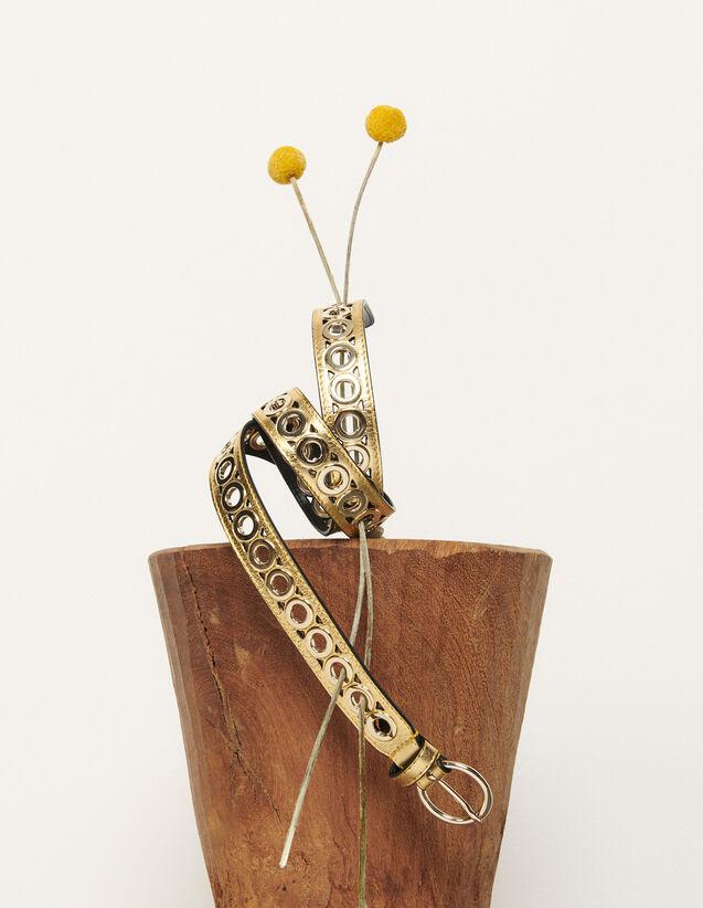 Gürtel mit runder Schließe und Ösen : Gürtel farbe Gold