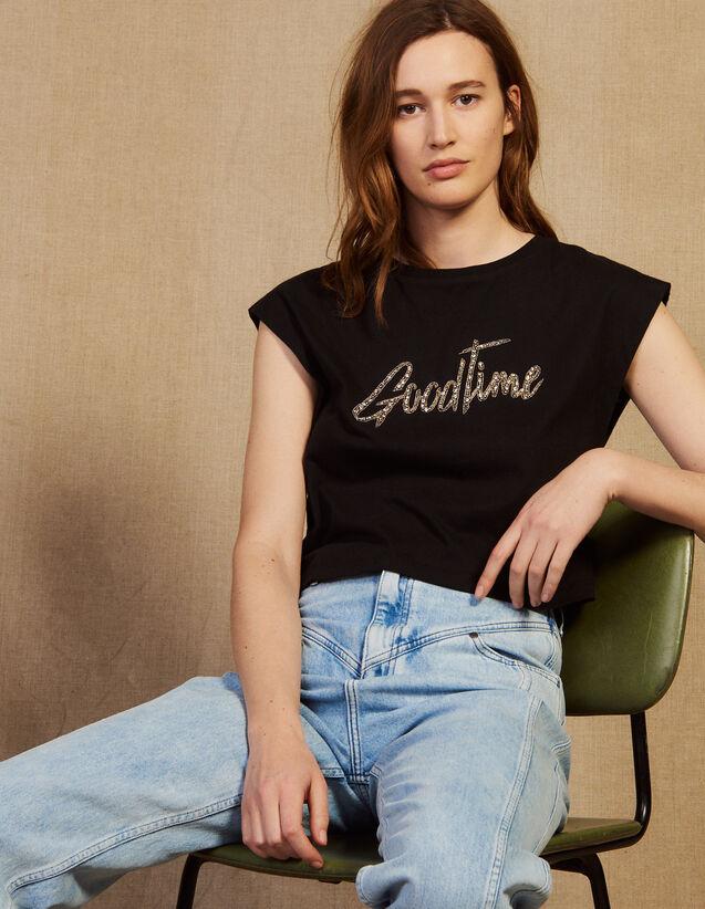 Kurzes T-Shirt Mit Perlenschriftzug : LastChance-CH-FSelection-Pap&Access farbe Schwarz