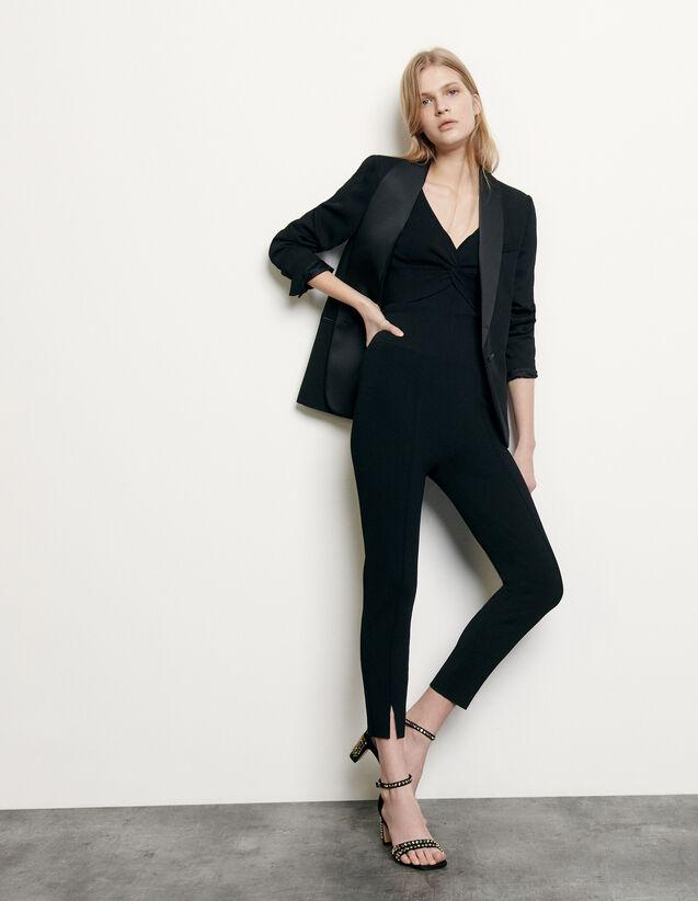 Strickleggings mit kleinen Schlitzen : Hosen farbe Schwarz