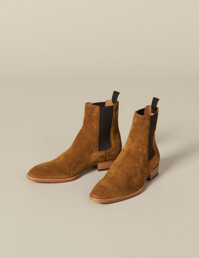 Chelsea-Stiefeletten Aus Veloursleder : Schuhe farbe Karamell