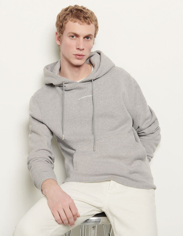 Kapuzen-Sweatshirt mit Logo-Stickerei : Sweatshirts farbe Grau Meliert