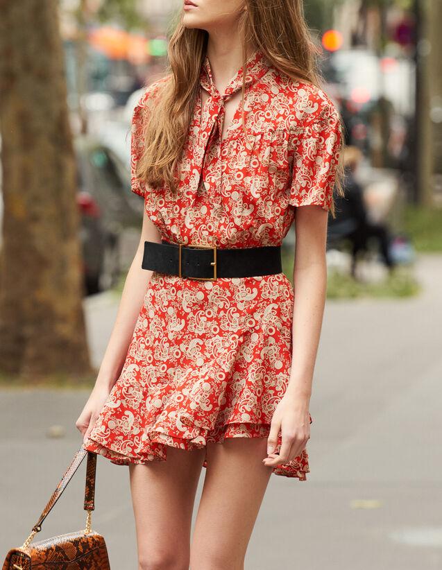 Kurzärmeliges Kleid mit Print : Kleider farbe Rot