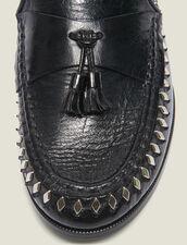 Mokassins aus Leder mit Knautscheffekt : LastChance-ES-F40 farbe Schwarz