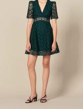 Kurzes Ausschnitt-Kleid mit Herzgipüre : Kleider farbe Grün