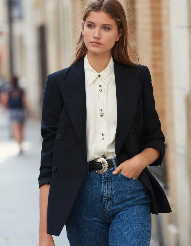 Oversize-Blazer mit Streifen : Blousons & Jacken farbe Schwarz