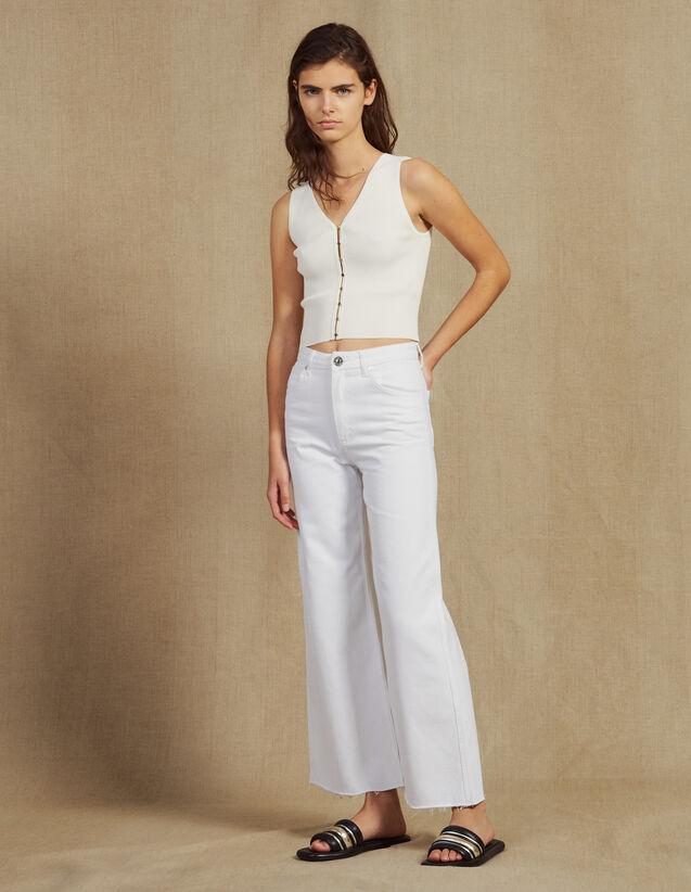 Ausgestellte Jeans Mit Hoher Taille : null farbe Weiß