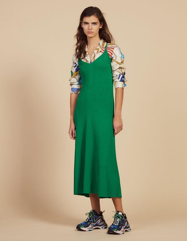 Langes Strickkleid Mit Trägern : Kleider farbe Grün