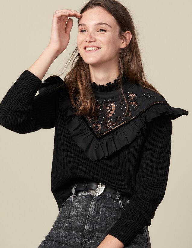 Pullover mit Plastron und Lochstickerei : Pullover & Cardigans farbe Schwarz