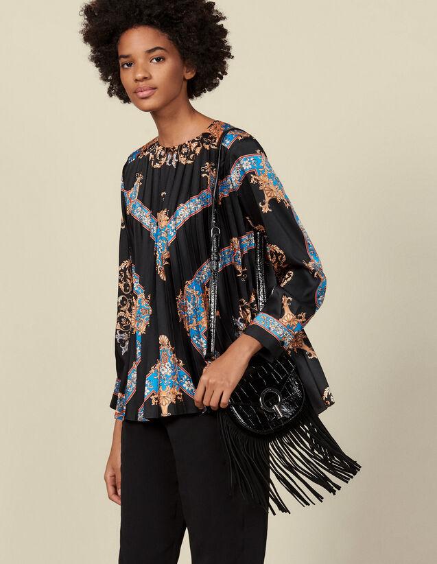 Plissee-Top mit platziertem Print : Tops & Hemden farbe Schwarz