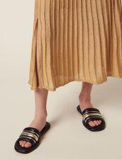 Langer Plissierter Strickrock : null farbe Gold