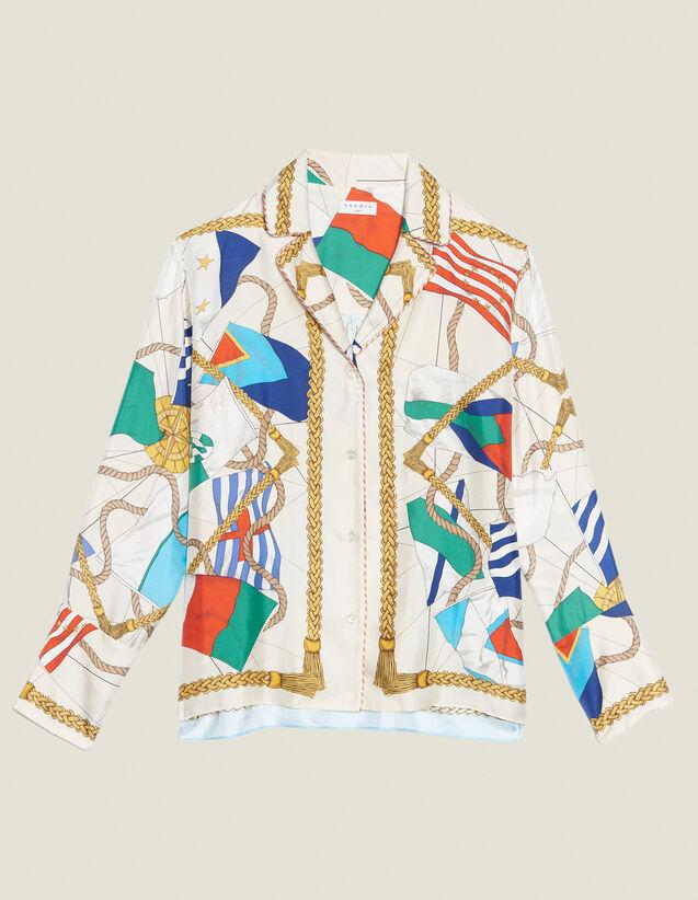 Bedruckte Hemdbluse Im Pyjamastil : Bedrucktes Hemd farbe Ecru