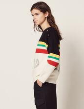Pullover Mit Streifen Und Schriftzug : null farbe Schwarz