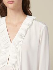 Seidentop mit plissiertem Ausschnitt : Tops & Hemden farbe Ecru