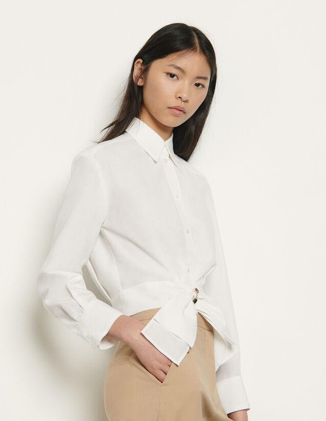 Kurze Bluse mit abnehmbarer Schleife : Tops & Hemden farbe Weiß