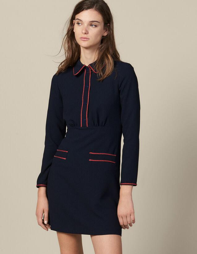 Strukturiertes Kleid Mit Borten : Kleider farbe Marine