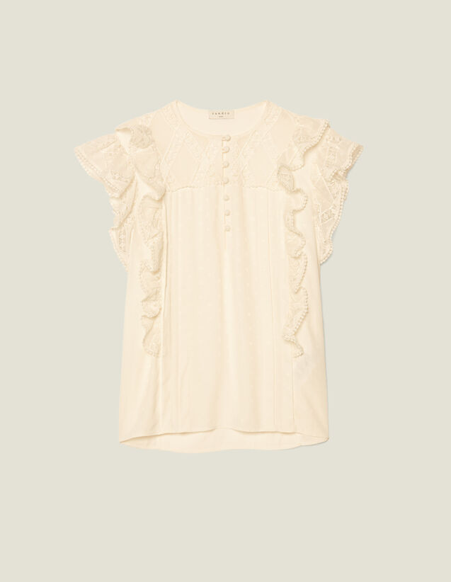 Top Aus Jacquard Mit Volants : Tops & Hemden farbe Ecru