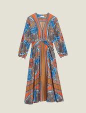 Langes Kleid Aus Seide Mit Print : null farbe Bunt