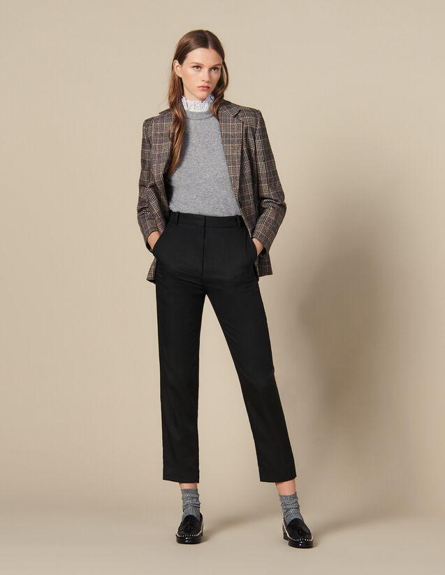 Taillierte Hose mit Rippenfalten : FBlackFriday-FR-FSelection-Pantalons&Jeans farbe Schwarz