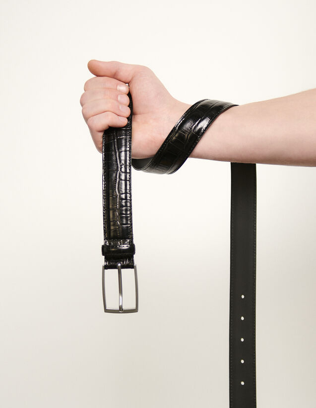 Gürtel aus geprägtem Leder : Gürtel farbe Schwarz