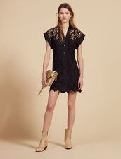 Kurzes Kleid Aus Gipürespitze : null farbe Schwarz