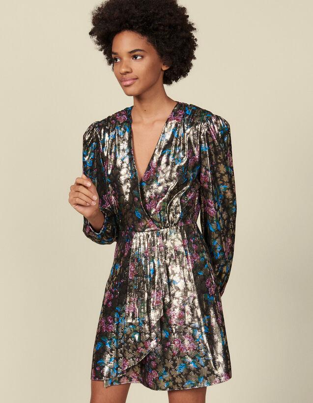 Kurzes Kleid aus Lurex-Jacquard : Kleider farbe Bunt