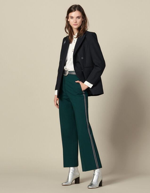 Weite Hose mit dreifarbigen Borten : Hosen farbe verde