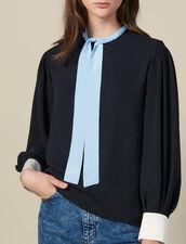 Fließendes Top Mit Lavallière-Kragen : Tops & Hemden farbe Schwarz
