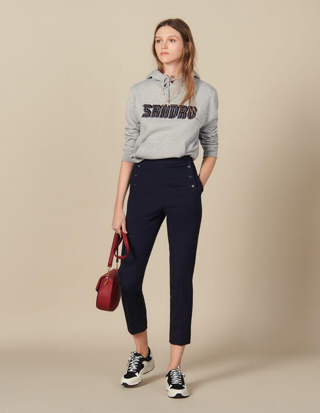 Ausgestellte Hose mit Vorderklappe : Hosen farbe Marine