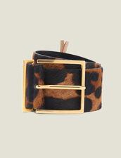 Ledergürtel In Pony-Optik Mit Print : Gürtel farbe Leopard