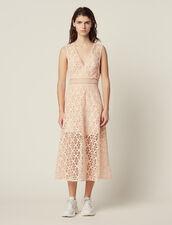 Midi-Kleid Aus Lochstickerei-Spitze : null farbe Rosa