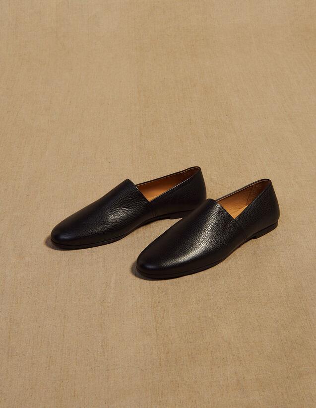 Slippers Aus Genarbtem Leder : Schuhe farbe Schwarz