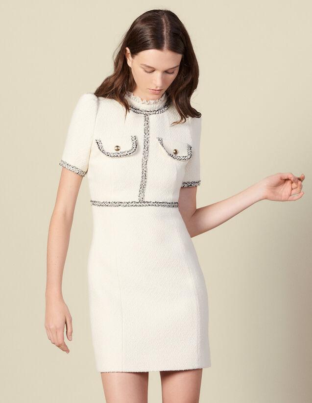 Tweedkleid mit Bortenverzierung : Kleider farbe Ecru