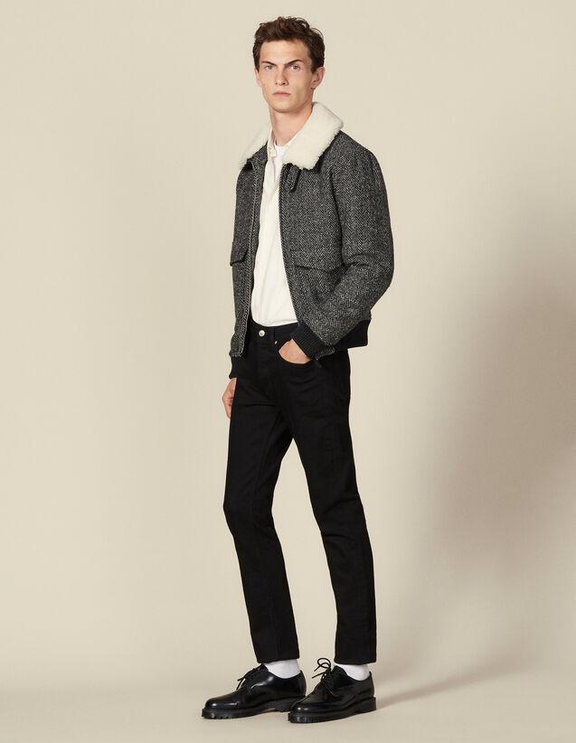 Fliegerjacke aus Wolle : Blousons & Jacken farbe Grau