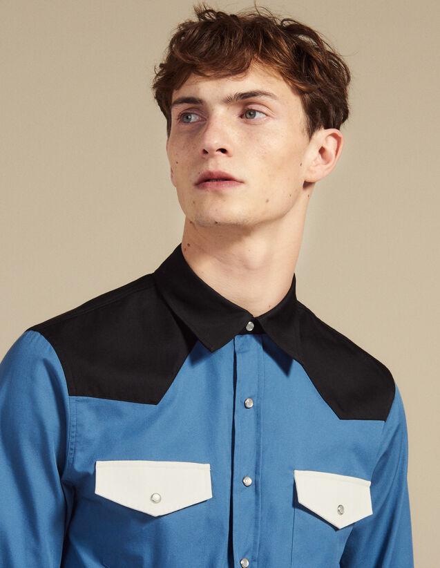 Westernhemd Mit Colourblocking : Hemden farbe Blau